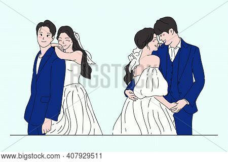 Groom And Bride Characters Collection In Wedding Dresses. Hand Drawn Style Vector Design Illustratio