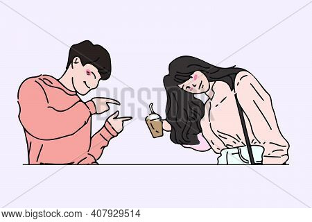 Man Pointing A Finger And Posing Cute To His Girlfriend. Cute Pose Of Couple In Love Hand Drawn Styl
