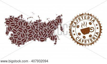 Coffee Mosaic Map Of Soviet Union And Cafeteria Grunge Stamp Seal. Vector Map Of Soviet Union Collag