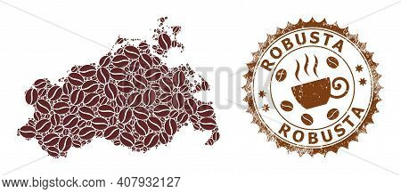 Coffee Mosaic Map Of Mecklenburg-vorpommern Land And Robusta Unclean Stamp. Vector Map Of Mecklenbur
