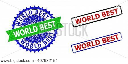 Bicolor World Best Seal Stamps. Green And Blue World Best Stamp With Sharp Rosette And Ribbon. Round