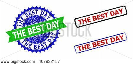 Bicolor The Best Day Seal Stamps. Blue And Green The Best Day Watermark With Sharp Rosette And Ribbo