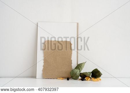 Fashion Stock Stationery Background On A White Background. An Empty Postcard For The Inscription. We