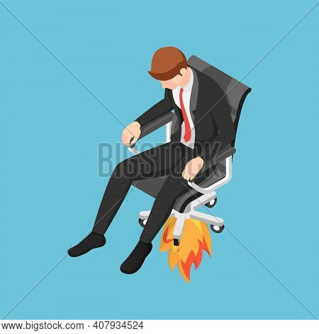 Flat 3d Isometric Businessman Flying Up With His Jet Chair. Get Promoted Or Get Fired Concept