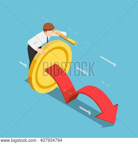 Flat 3d Isometric Businessman With Golden Coin And Telescope Looking Forward. Long Term Investment C