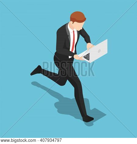 Flat 3d Isometric Businessman Working On Laptop While Walking. Deadline And Rush Hour Concept