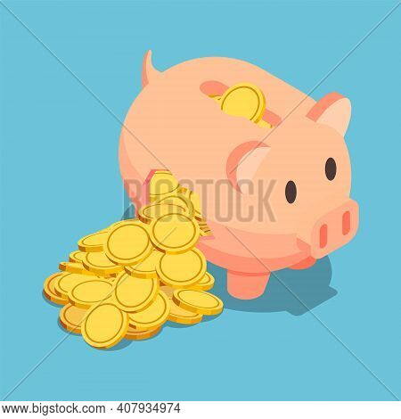 Flat 3d Isometric Golden Coin Come Out From Broken Piggy Bank. Financial Crisis Concept.