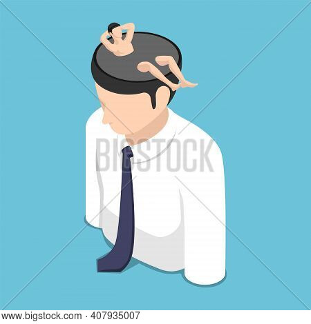 Flat 3d Isometric Relaxed Businessman Resting Inside Himself Head. A Time For Relax And Vacation Con