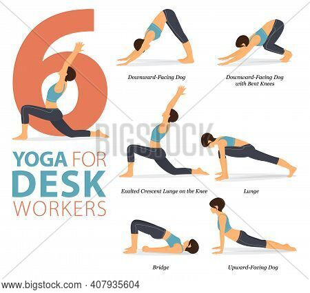 Infographic 6 Yoga Poses For Workout In Concept Of Desk Workers In Flat Design. Women Exercising For