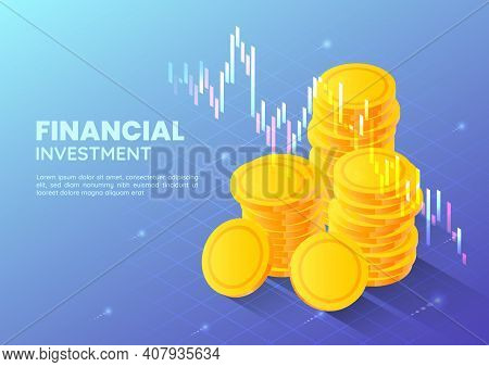 3d Isometric Web Banner Golden Money Coin With Stock Market Trading Graph. Financial And Investment