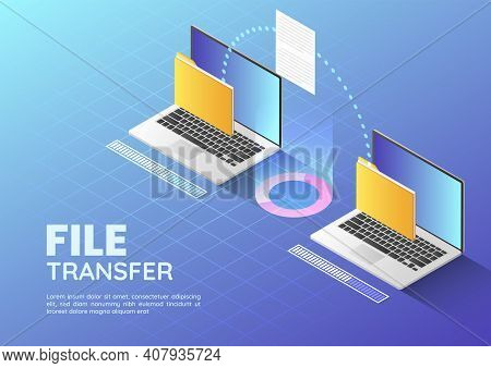 3d Isometric Web Banner Two Laptop Transfer Files And Organize Folder. File Sharing And Document Man