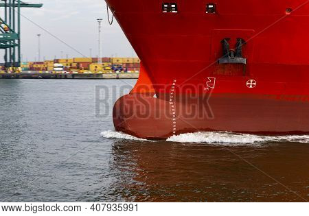 The Photo Shows The Bow Of A Cargo Ship Underway