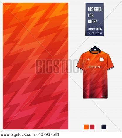 Fabric Pattern Design. Abstract Pattern On Orange Gradient Background For Soccer Jersey, Football Ki
