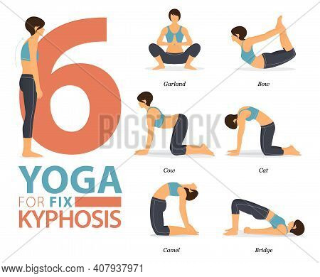 Infographic Of 6 Yoga Poses For Workout At Home In Concept Of Yoga For Fix Kyphosis In Flat Design.