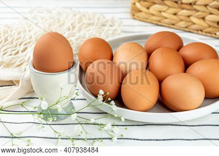 Closeup View Of Clay Plate Full Of Many Raw Whole Brown Chicken Eggs For Cooking Fresh Homemade Food