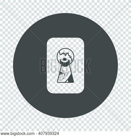 Criminal Peeping Through Keyhole Icon. Subtract Stencil Design On Tranparency Grid. Vector Illustrat
