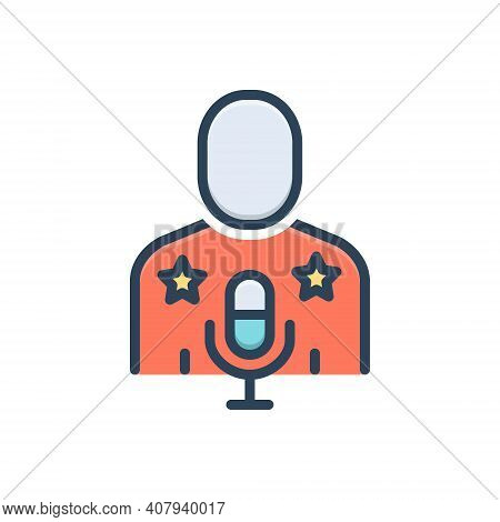 Color Illustration Icon For Idol Actress Celebrity Famous Hero Superstar Singer Favorite