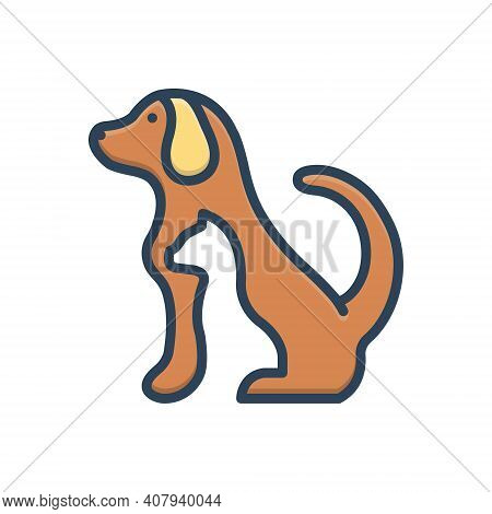 Color Illustration Icon For Pet Tame Dog Domestic Animal Cherished Endearing