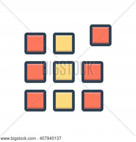 Color Illustration Icon For Pixel Pattern Picture-element Raster Pel Element