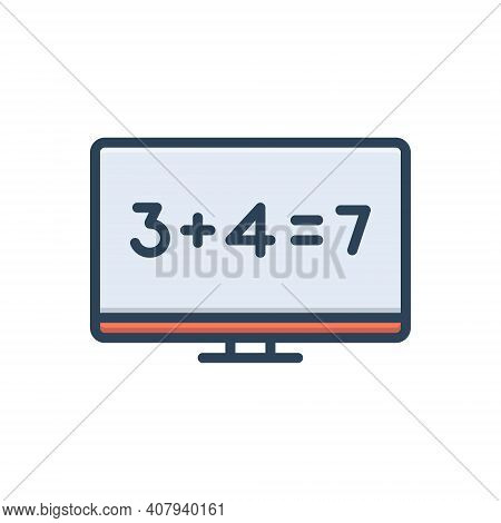 Color Illustration Icon For Sum Total Number Equal Addition Add Tally