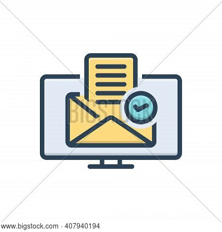 Color Illustration Icon For Approve Approbate Accept Agree-to-receive Confirm Online Message Certify