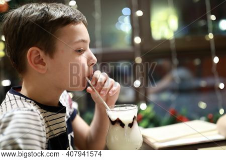 Boy Drinking Milk Shake