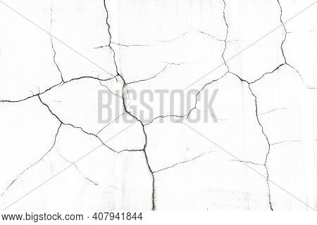 White Paint Black Cracks Background. Scratched Lines Texture. White And Black Distressed Grunge Conc