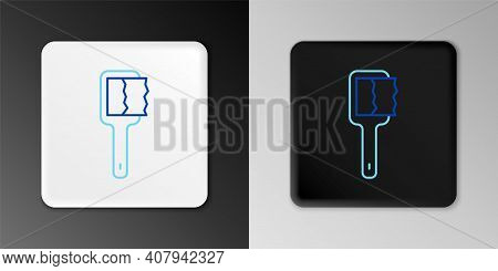 Line Sauna Brush Icon Isolated On Grey Background. Wooden Brush With Coarse Bristles For Washing In