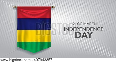Mauritius Independence Day Greeting Card, Banner, Vector Illustration