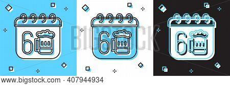 Set Saint Patricks Day With Calendar Icon Isolated On Blue And White, Black Background. Four Leaf Cl