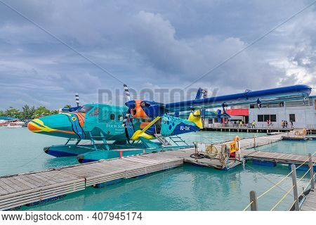 Male, Maldives - February.2.2018: A Dash Dhc-6 Twin Otter Turboprop Seaplane From Four Seasons Air T