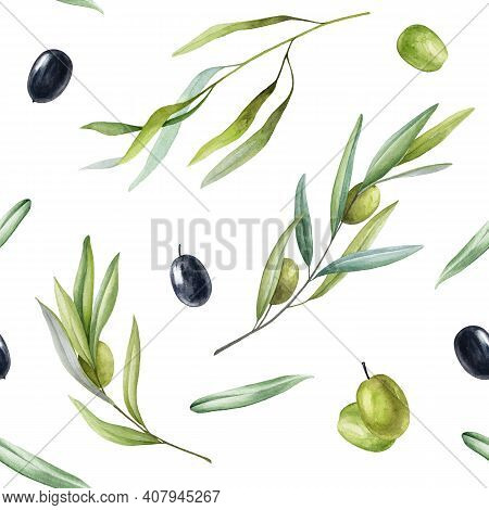 Olive Branch And Fruit Seamless Pattern. Hand Drawn Elegant Olive Branches In Watercolor Pattern On