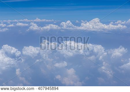 Blue Sky Background, Vast Blue Sky Landscape Panoramic Scene. Colorful Blue Sky View In Bright Tones