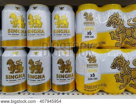 Chiang Mai - Thailand, February 12, 2021 : Close Up Of Singha Lager Beer. Singha Beer The Original T