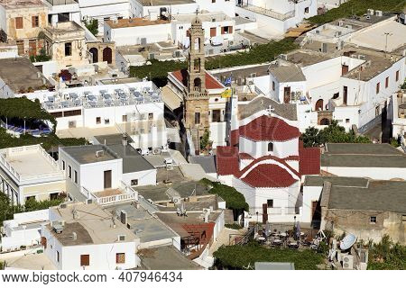 Lindos, Rhodes / Greece - June 23, 2014: View On The Roofs Of Lindos With Agia Panagia Church, Rhode