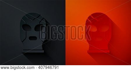 Paper Cut Mexican Wrestler Icon Isolated On Black And Red Background. Paper Art Style. Vector