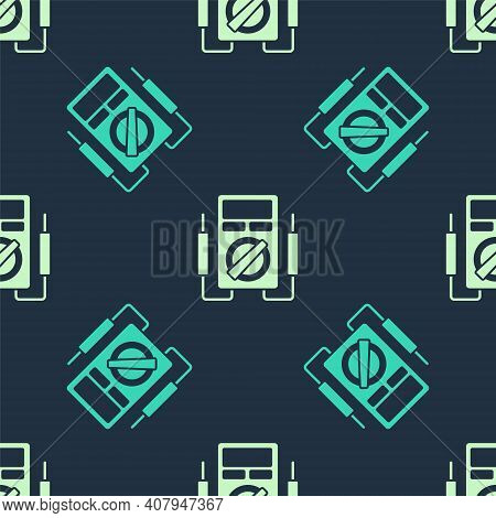 Green And Beige Ampere Meter, Multimeter, Voltmeter Icon Isolated Seamless Pattern On Blue Backgroun
