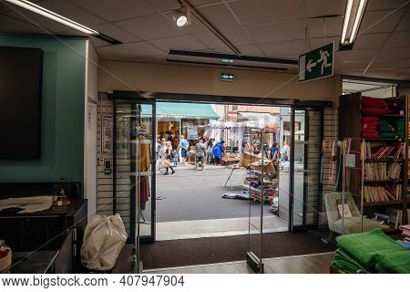 Strasbourg, France - July 29, 2017: View From The Store Of Large Crowd Of People Walking On The Stre