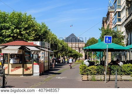 Strasbourg, France - July 29, 2017: Central Place Broglie In Alsatian Capital With Bertani Crepes Ca