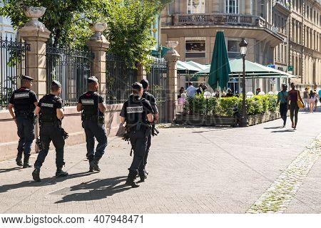 Strasbourg, France - Jul 29, 2017: Large Group Of Male Policemans From Gendarmerie Surveilling Inspe