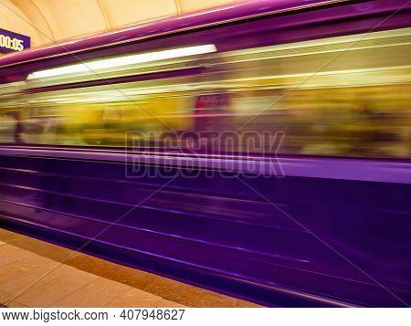 Fast Blur Motion Of Paris Metropolitain Train Passing In Station - Defocused Motion On Parisian Unde
