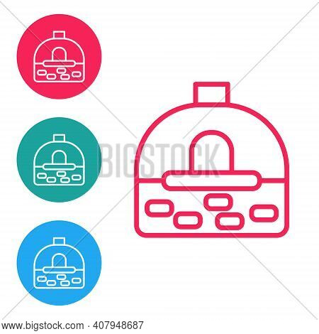 Red Line Brick Stove Icon Isolated On White Background. Brick Fireplace, Masonry Stove, Stone Oven I