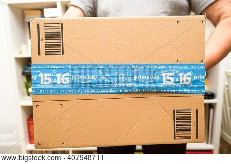 Paris, France - Oct 10, 2019: Detail Of New Amazon Prime Parcel Logotype With The Smiling Arrow And