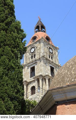 Rhodes / Greece - June 23, 2014: Clocktower In The Old Town In Rhodes, Dodecanese Islands, Greece.