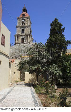 Rhodes / Greece - June 23, 2014: Clocktower In The Old Town, Rhodes, Dodecanese Islands, Greece.