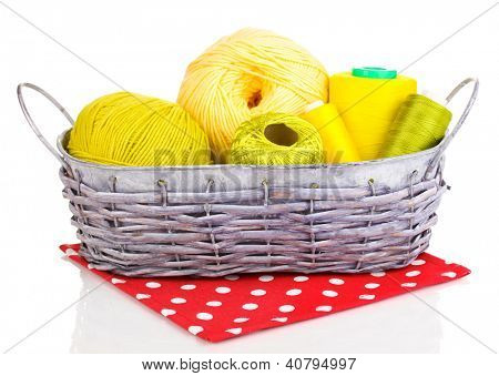 Bright threads in basket isolated on white poster