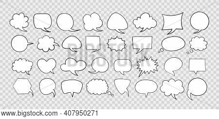 Speech Bubbles. Hand Drawn Icons. Collection Of Empty Speech Bubbles. Comic Speech Bubble. Retro Emp