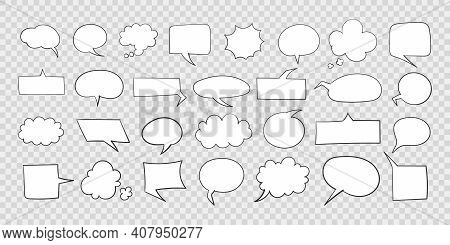 Speech Bubbles. Hand Drawn Icons. Collection Of Empty Speech Bubbles. Comic Speech Bubbles On Transp