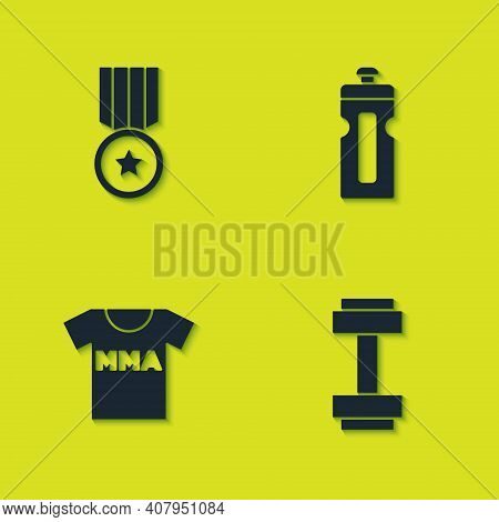 Set Medal, Dumbbell, T-shirt With Fight Club Mma And Fitness Shaker Icon. Vector