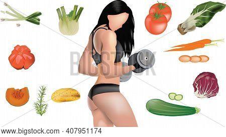 Female Bodybuilder Surrounded By Vegetables Female Bodybuilder Surrounded By Vegetables